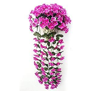 Pumpumly Hanging Wall Artificial Fake Silk Violet Orchid Flower Rattan Plant Basket Decor Red Silk Flower Arrangements Silk Flower Arrangements Orchid Flower Silk Flowers
