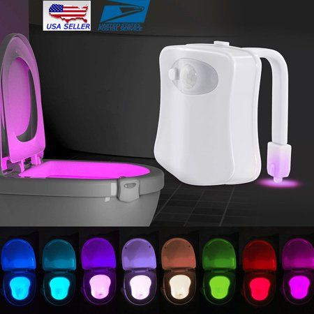 Toilet Night Light, Motion Activated Toilet Night Light Changing Led Toilet Seat Light, Two Modes with 8 Color Changing - Motion Sensor LED Washroom Night Light - Fits Any Toilet, White Light Sensor, Led Night Light, Light Led, Dark Night, Hans Wegner, House Doctor, Toilet Bowl Light, Glow Lamp, Elevator