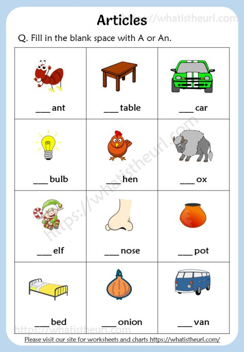 Articles Worksheets for Grade 1 (a / an) - Your Home Teacher