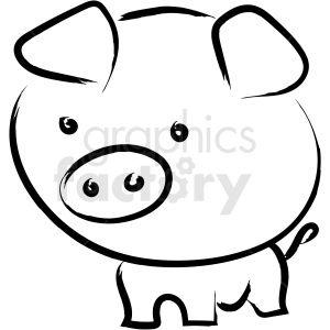 Cartoon Pig Drawing Vector Icon Pig Drawing Pig Cartoon Clip Art