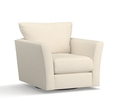 Pb Comfort Fin Arm Uph Down Textured Basketweave Swivel Armchair