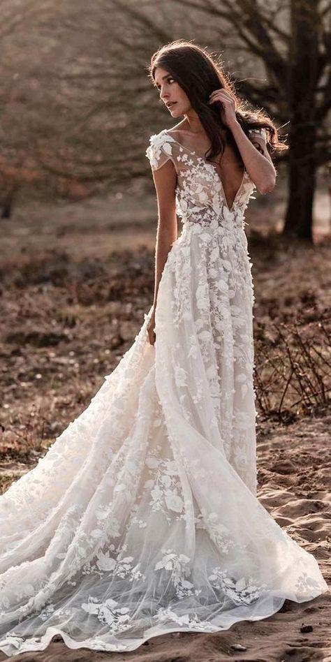 wedding dress boho wedding dresses 36 Gorgeous A-Line Wedding Dresses a line wedding dresses with cap sleeves deep v neckline with floral berta