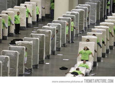 Meanwhile, at the mattress factory… OMG I would SO participate in this!