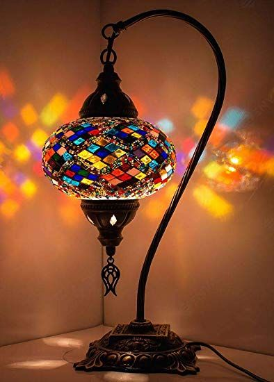 New Bosphorus Stunning Handmade Swan Neck Turkish Moroccan Mosaic Glass Table Desk Bedside Lamp Light With Bronze Moroccan Lamp Mosaic Lamp Turkish Mosaic Lamp