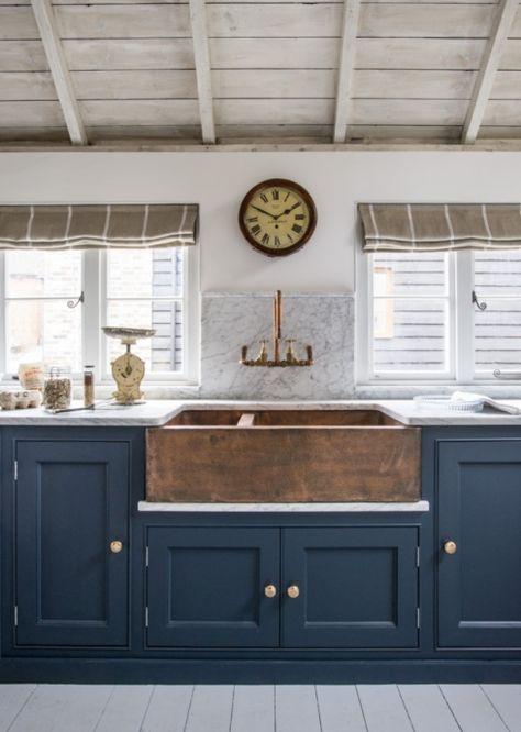 Copper Belfast Sink with copper hardware in a Georgian kitchen by Middleton Bespoke