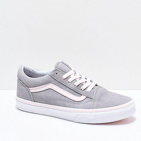 Vans Shoes   Vans Old Skool Grey & Light Pink Skate Shoes