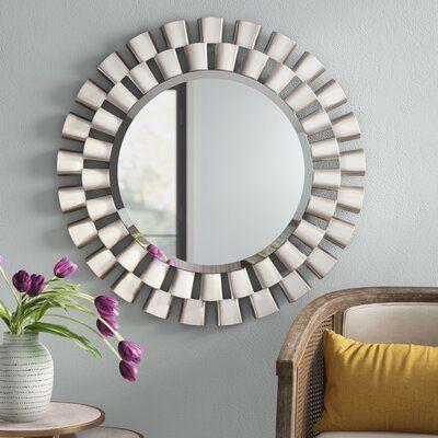 Glam Beveled Accent Mirror Finish Brushed Silver Accent Mirrors Silver Sunburst Mirror Sunburst Mirror
