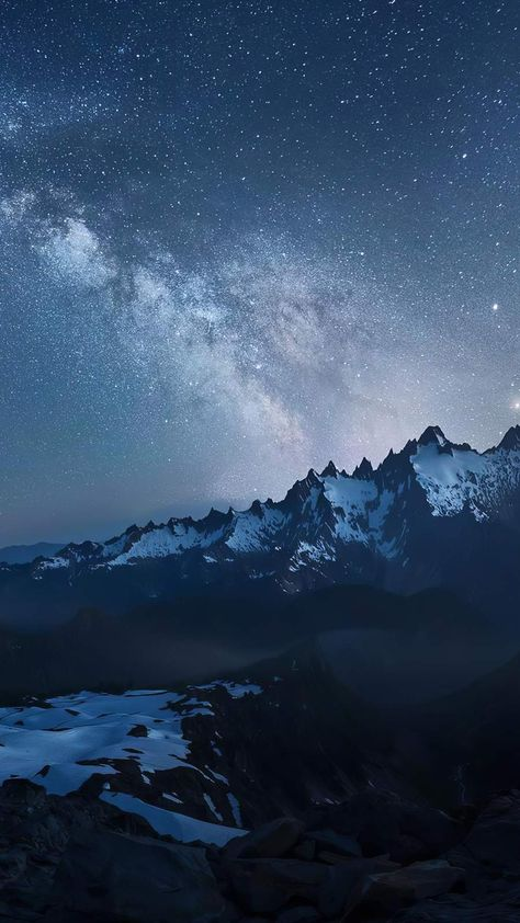 Snow Mountains Night Starry Sky iPhone Wallpaper - iPhone Wallpapers