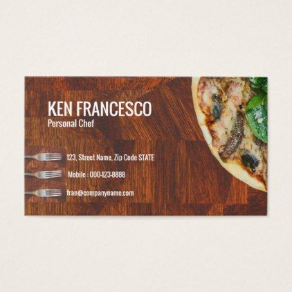 Enticing Tempting Delicious Pizza Business Card Zazzle Com Personal Chef Business Business Cards Elegant Personal Chef