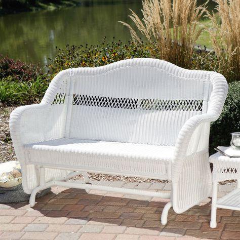 White Resin Wicker Outdoor 2 Seat Loveseat Glider Bench Patio Armchair Outdoor Glider Chair Wicker Patio Furniture Outdoor Glider