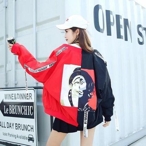 Harajuku Wild loose streamer letters Printed baseball coat thin Sunscr – liilgal