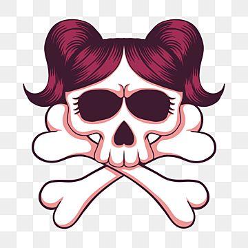 Skull Girl Crossbone Vector Illustration Skull Cross Bone Png And Vector With Transparent Background For Free Download In 2021 Vector Illustration Girl Skull Silhouette Vector