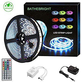 Bathebright Led Strip Light Waterproof Ip65 16 4ft 300leds Rgb Smd 5050 Rope Leds Color Changing Light Full Kit Wi Led Strip Lighting Strip Lighting Rope Light