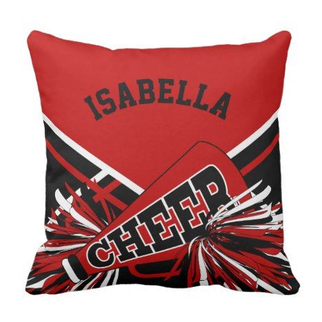 Cheerleader Outfit In Dark Red Black White Throw Pillow Zazzle Com Black Throw Pillows Throw Pillows Cheerleading Outfits