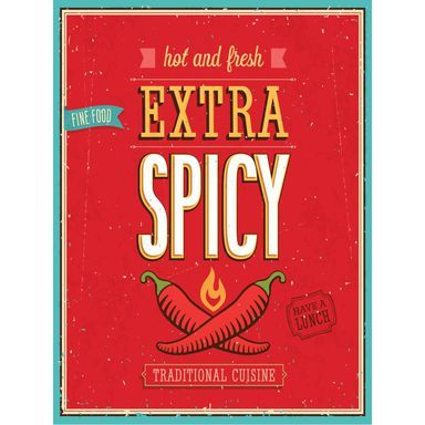 Obraz Spicy 30 X 40 Cm Consalnet Spicy Lunch Novelty Sign Cuisine