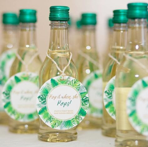 Grab these gorgeous champagne favor tags to tie your whole baby shower together. Pop It When She Pops™ #babyshower #champagnetags