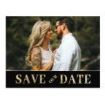 Vintage Gold Save our Date Photo Invitation Postcard #weddinginspiration #wedding #weddinginvitions #weddingideas #bride