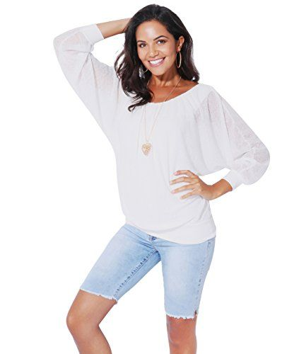 Damen T-Shirt Bluse Top kurzarm lockere Ärmel Schmetterlingsärmel 36 38 40 42 44