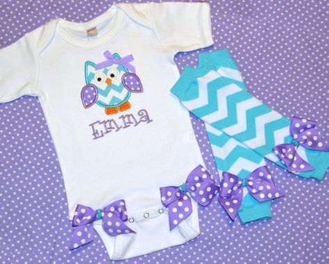 25557aeb0 Owl Bodysuit & Leg Warmers - Purple and Turquoise - Baby Girl Coming Home  Outfit - Newborn Photos -