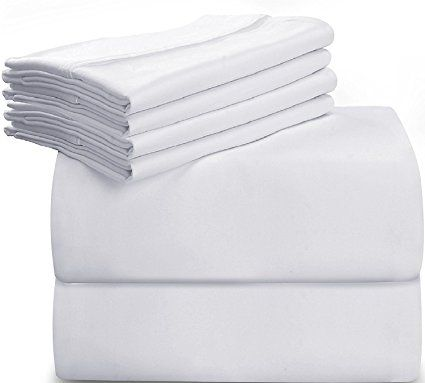 Utopia Bedding 6 Piece Bed Sheet Set King White With 4 Pillow Cases Soft Brushed Microfiber Wrinkle Fade Utopia Bedding Sheet Sets Queen Bed Sheet Sets
