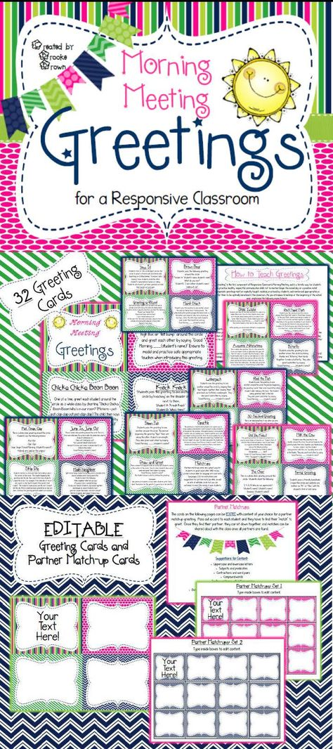Morning Meeting Greeting cards for Responsive Classroom! Editable cards included!