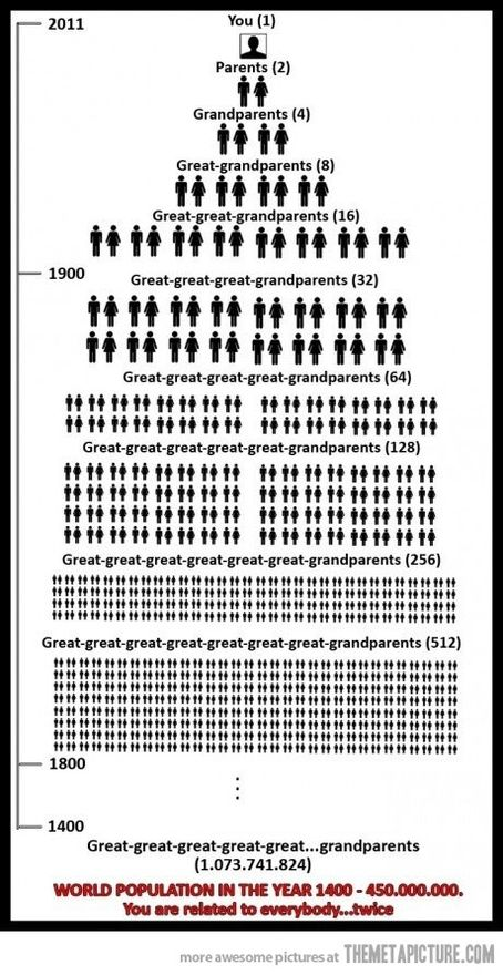 Genealogy...you are related to everybody. Twice.