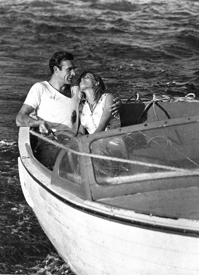 I'm certain that most couples expect to find intimacy in marriage, but it somehow eludes them. James Dobson  | www.TwoPinkHouses.com - Sean Connery and Ursula Andress