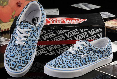 8e73a8a46a72ab Vans Baby Blue Leopard Print Womens Authentic Canvas Skate Shoes Outlet   13060104  -  39.99   Vans Shop