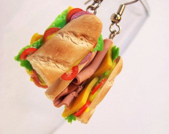 Awesome Miniature Food Earrings Food Jewelry Sub Sandwich by kawaiibuddies,