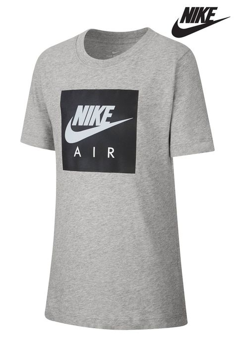 Boys Nike Air Box Logo T Shirt Grey   Shirts, Boys t