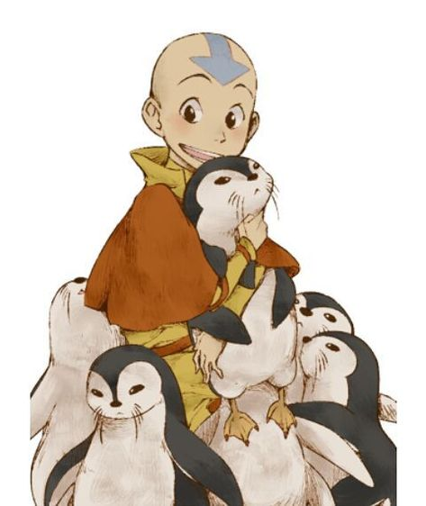 Avatar: The Last Airbender (The Legend of Korra) Aang, otter penguins, cute; Avatar: the Last Airbender Avatar Airbender, Avatar Aang, Team Avatar, Aang The Last Airbender, Avatar Fan Art, Cartoon Cartoon, Cartoon Kunst, Otter Cartoon, Avatar Equipe