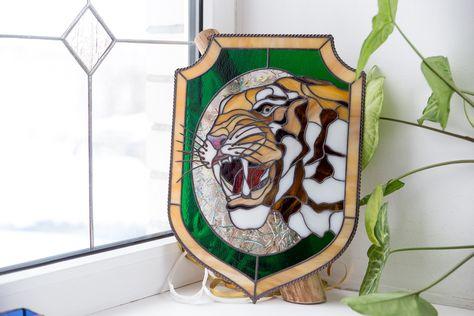 My Etsy Shop Tiger Stain Glass Suncatcher Tiger Wall Decor Stain Glass Wall Hanging Tiger Gift Stain Custom Stained Glass Stained Glass Glass Animals
