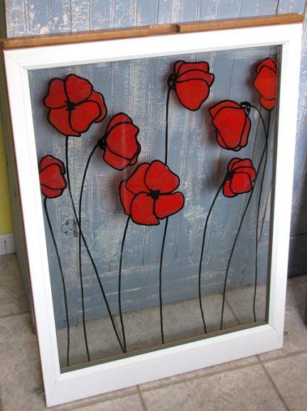 Beautiful Upcycled Painted Decorated Windows Stained Glass Wall Art Painting Designs
