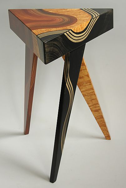 Vienna Triangle Table by Ingela Noren and Daniel Grant Wood Side