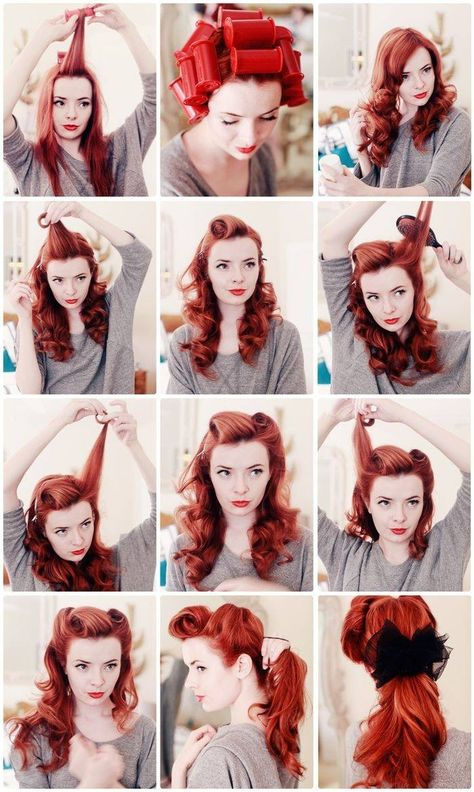 Super cool tutorial for victory rolls. Am I the only one that ADORES the colour of her hair?? So gorgeous!