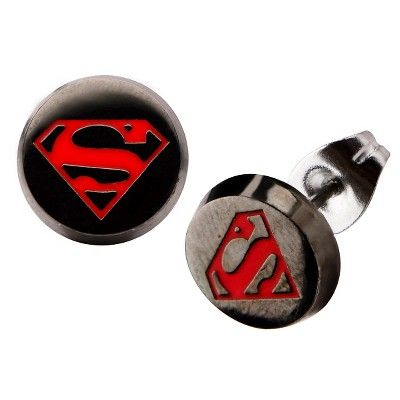 Dc Comicsa Superman Stainless Steel Enamel Stud Earrings Black Red Stainless Steel Superman Enamel Stud Earrings Enamel Stud Stainless Steel Jewelry