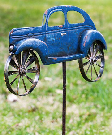 Whimsy in my garden. Evergreen Vintage Car Kinetic Garden Stake