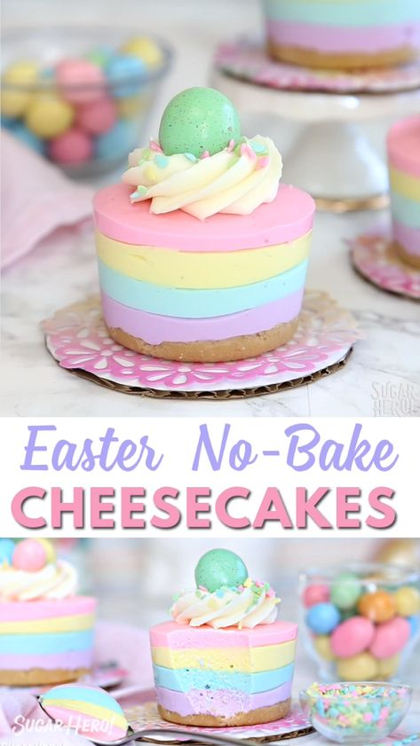 Here's a super cute and easy Easter dessert! No-bake mini cheesecakes in pastel colors, perfect for serving after Easter dinner. Top with an Easter egg candy for the perfect finishing touch! #sugarhero #easterdessert #easterbaking #easterrecipes