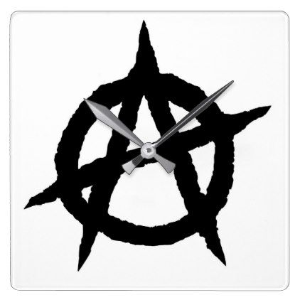 Anarchy Symbol Black Punk Music Culture Sign Chaos Square Wall Clock Black Gifts Unique Cool Diy Customize Pers Black Wall Clock Square Wall Clock Wall Clock