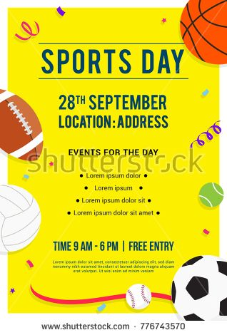 Sports Day Poster Invitation Vector Illustration Sport Equipment On Yellow Background Sports Day Poster Sports Day Poster Invitation