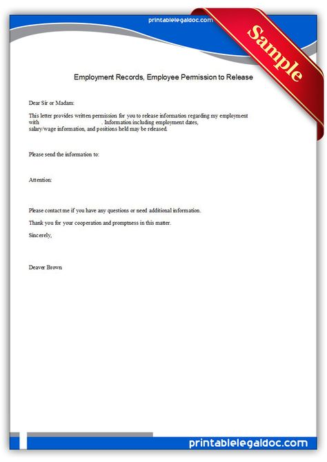 Free Printable Employment Records, Employee Permission To Release - Liability Release Form