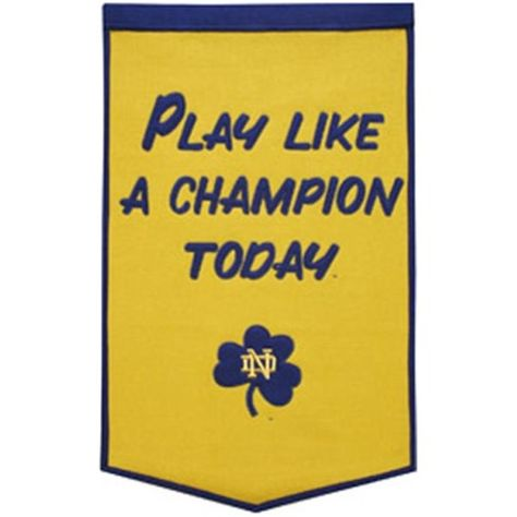 Notre Dame Fighting Irish Banner 24x36 Wool Dynasty Play Like A Champion Today Style, As Shown