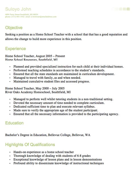 HomeSchool Teacher Resume -    resumesdesign homeschool - objectives for teacher resume
