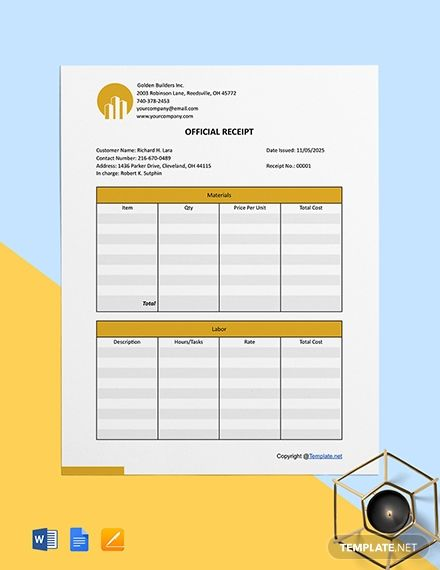 Printable Construction Receipt Template Free Pdf Google Docs Google Sheets Excel Word Template Net Receipt Template Templates Word Doc