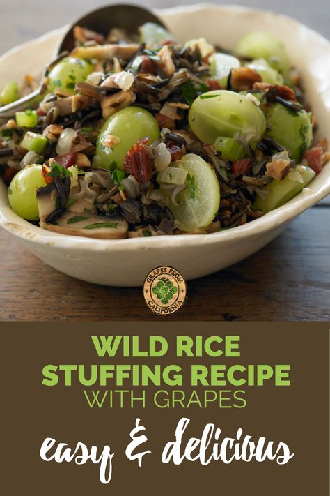 Need a new Thanksgiving side dish recipe?  Try this easy wild rice stuffing featuring grapes from California for a touch of sweetness, and an herb like sage for delicious flavor. This baked stuffing recipe will be the perfect addition to your holiday cooking.  #recipes #Thanksgiving #recipesThanksgiving #stuffing #wildricestuffing #flavors #sidedish #perfect #easy #baked #holidayside #wildricerecipe #holidaystuffing #sweetness #meal #dressing #holidaycooking #delicious #best #herbs