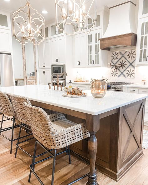 I finally selected stools for our kitchen island! It only took about two months 😂 I found lots of styles I liked but functionality was the most important thing for our family. These stools from ballarddesigns were perfect! They are nice and wide with a low back...and the best part is their durability! They came with a sunbrella washable cushion so I don't have to worry about spaghetti night with our two year old (because of course he has to sit with the big kids!). . . . . #kitchensofinsta #kit Home Kitchens, Kitchen Remodel, Kitchen Design, Kitchen Island Decor, Home Decor Kitchen, Kitchen Interior, Kitchen Redo, Kitchen Style, Modern Farmhouse Kitchens