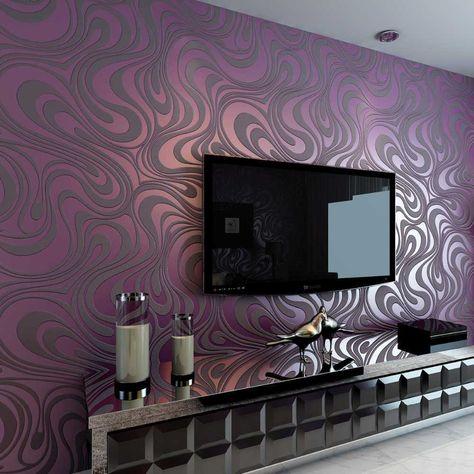 wallpaper dinding ruang tamu cerah warna hijau dan ungu