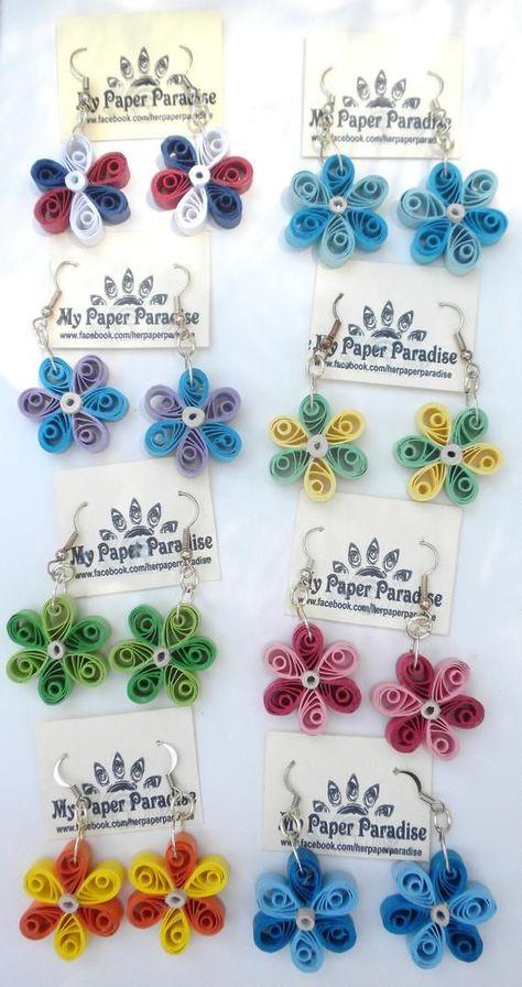 Qulling flower dangling earrings Eco friendly jewelry | Etsy