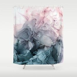 Blush And Payne S Grey Flowing Abstract Painting Shower Curtain