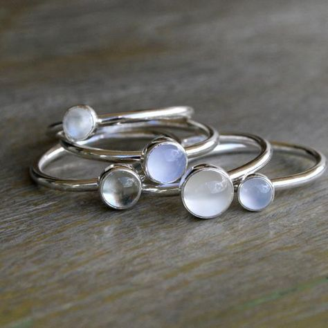 Moonstone, Chalcedony, Prasiolite Stacking Rings - Set of 5 Stacking Rings - Sterling Silver Rings - Luminous Cabochon Gemstones Luminous Gemstone Stacking Rings Sterling Silver by KiraFerrer